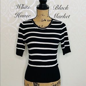 WHITE HOUSE BLACK MARKET SMALL BLACK KNIT SWEATER